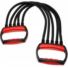 Эспандер грудной TORRES 5 латексных жгутов эргономичные ручки красно-черный